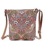 Signare Tapiz mochila bandolera mujer mochila pequeña con diseño (Strawberry Thief Red)
