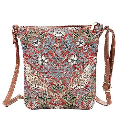 Signare Tapisserie Kleine Tasche Damen, Handtasche Damen Klein, Reisepass Tasche, Mini Handtasche (Erdbeerdieb Rot)