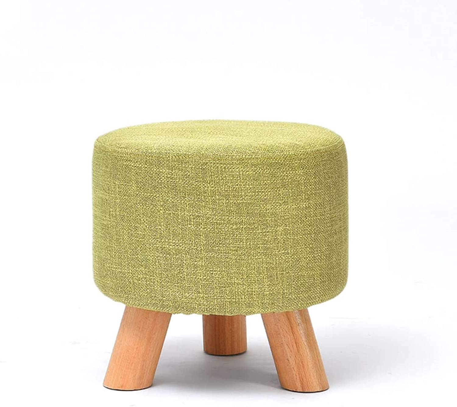"""Solid Wood Lowl Bench,Modern Home Foot Stool, Beech Wood Sofa, Round Seat Stool 11.4""""H"""