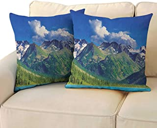 RenteriaDecor Woodland,Personalized Pillow Cases Lake in Altai Mountains Highlands Clouds Sunny Summer Day Travel Attraction 24