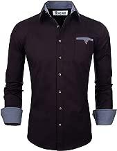 TAM WARE Men's Classic Slim Fit Contrast Inner Long Sleeve Dress Shirts