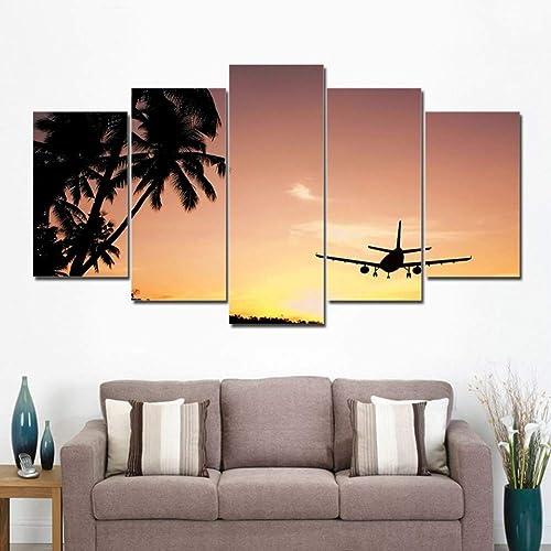 envío rápido en todo el mundo YHEGV Impresiones Impresiones Impresiones sobre Lienzo Fotos de Lienzo Decoración para el hogar Sala de Estar 5 Piezas Sunset Jet Avión Pintura Imprime Nube Aviones Póster Modular Wall Art Frame  tiendas minoristas
