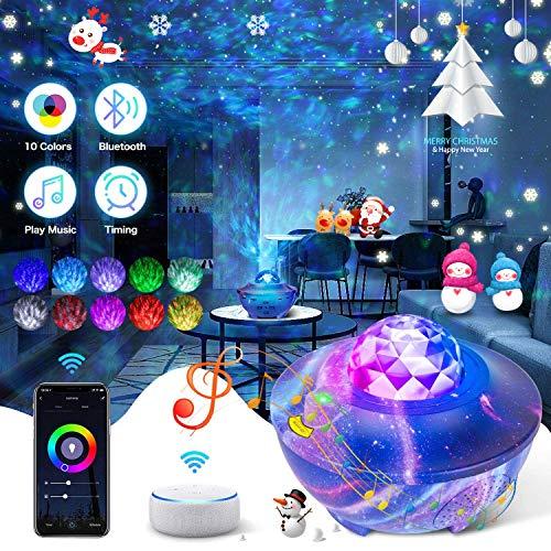 Led Sternenlicht Projektor Galaxy Sternenhimmel Projektor Sternenprojektor Nachtlicht mit Bluetooth-Lautsprecher Remote, durch Smart Life App,Alexa für Erwachsene Kinder Schlafzimmer Dekoration