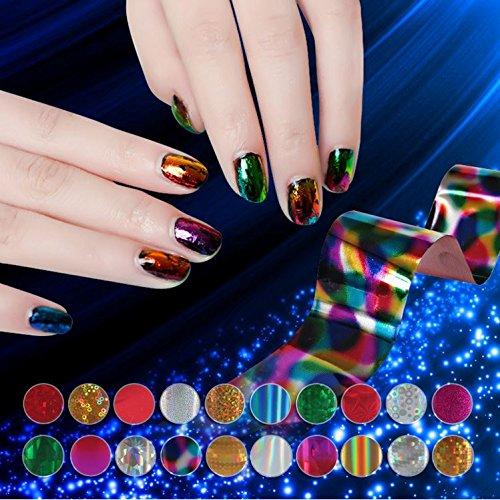 XICHEN Starry Sky Stars Nail Art Stickers Tips Wraps Foil Transfer Adhesive Glitters Acrylic DIY Decoration (24PCS 24 Colors)(4cm100cm)