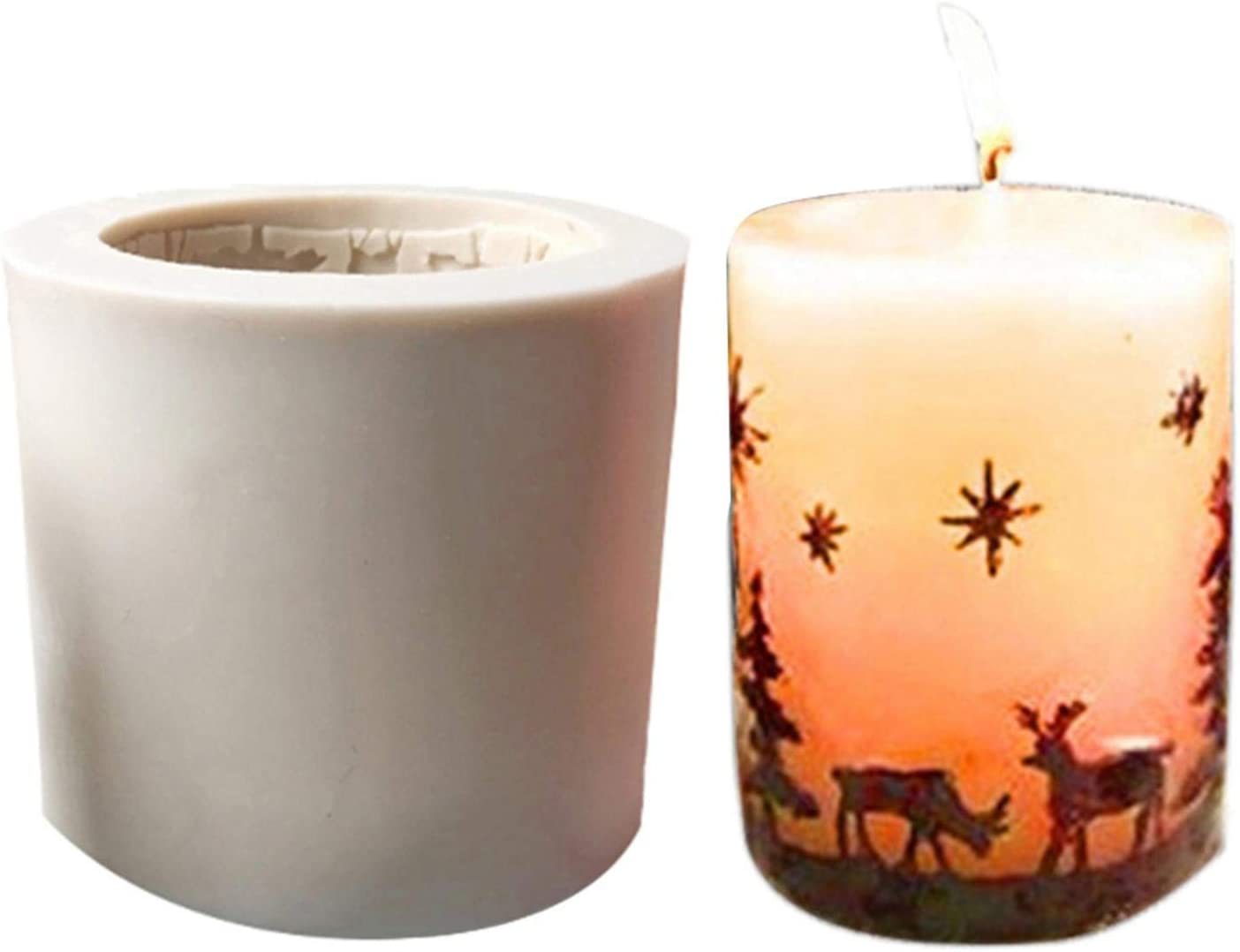 Naysku DIY Candle Super Special SALE held Silicone Mold 3D Deer Christmas Cake Tree Can specialty shop