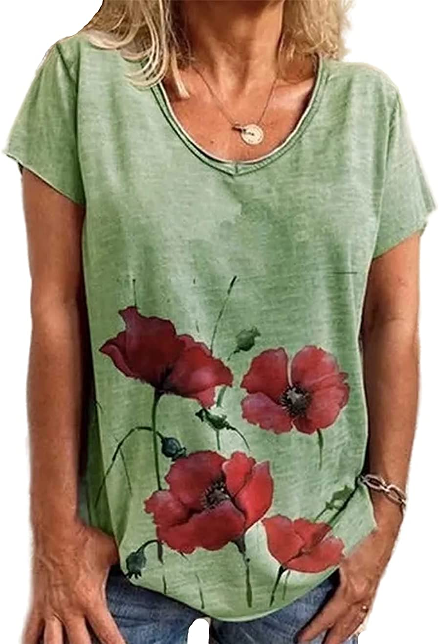 FRMUIC Women's Loose Printed Round Neck Short Sleeve Cute Flower Pattern Casual Ladies T Shirt Top