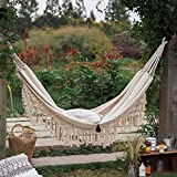 ZGRZ Doble Boho Tassel Nest Hamaca Columpio al Aire Libre/Interior Picnic Garden Macrame Hamaca brasileña Colgando Silla Neta Columpios