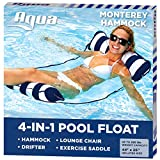 Aqua 4-in-1 Monterey Hammock Inflatable Pool Float, Multi-Purpose Pool Hammock (Saddle, Lounge Chair, Hammock, Drifter) Pool Chair, Portable Water Hammock, Navy/White Stripe, 10.25' x 11.5' x 1.5'