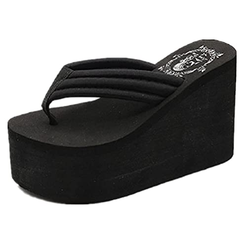 403c8a73f ANBOVER Womens Wedges Flip Flops Summer Thong Beach Sandals Chunky High  Platform