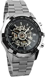 Wensltd Men Watch Mechanical Automatic Self-Winding Hollow Engraving (Black)