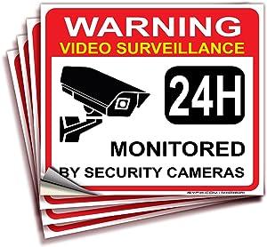 Video Surveillance Warning Sign Sticker - Decal, 4x Pack, 7
