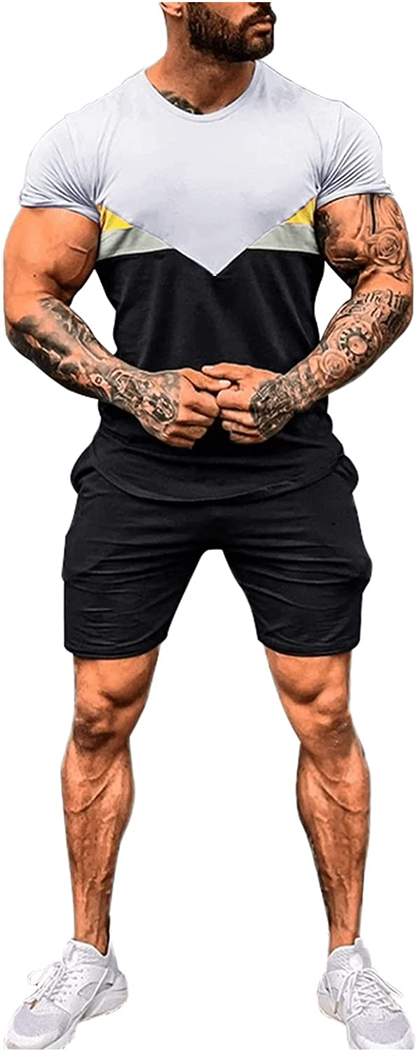 VEKDONE Mens Tracksuit 2 Piece Outfits Summer Casual Crewneck Muscle Short Sleeve Tee Shirts and Classic Fit Sport Shorts Set
