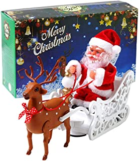 Volwco Christmas Musical Walking Reindeer Toy, Santa Claus Riding Reindeer Toy with Colorful Led Light, Santa Claus Plush Doll Toy in Sleigh, Xmas Creative Gift for Kids Little Boys Girls Children
