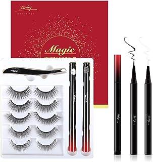 Magic False Eyelashes and Eyeliner Kit - New Formula Glue Free Magnetic Free Fake Eyelashes Set, Reusable False Lashes 5 P...