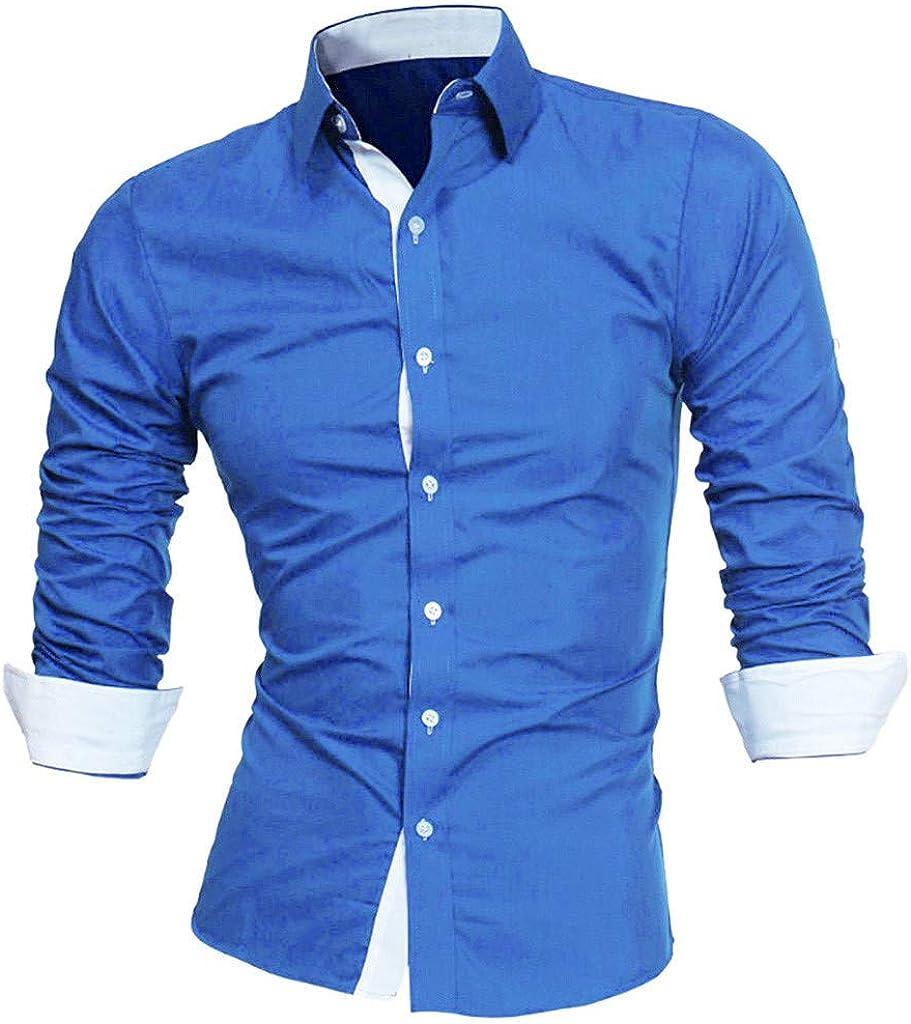 WUAI-Men Casual Dress Shirts Formal Business Work Button Down Shirts Slim Fit Fashion Hippie Shirts Tops