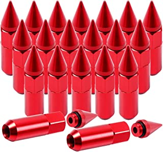 SCITOO 20PCS Red Spiked Lug Nuts for 3/4