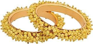 Efulgenz Fashion Jewelry Indian Bollywood 14 K Gold Plated Cystal Beaded Bracelet Multicolor Bracelet Bangle Set (2 قطعة) ...