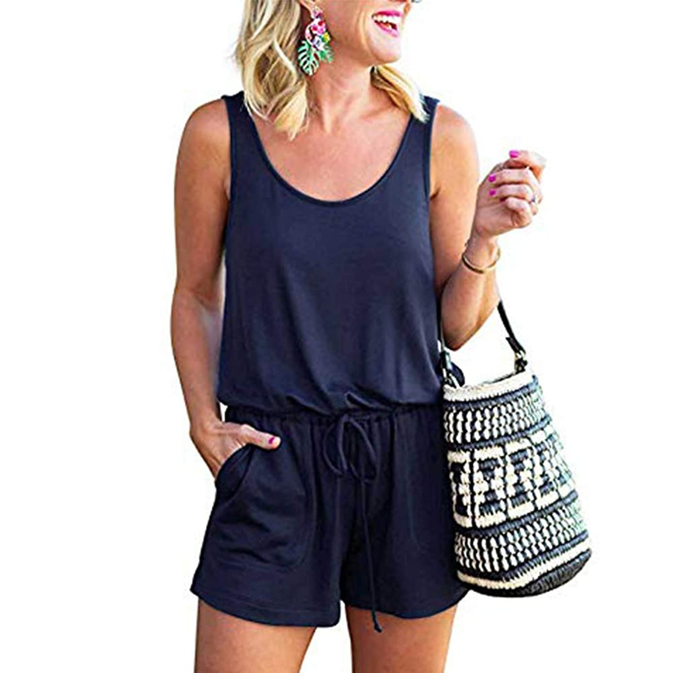 Artfish Women Summer Sleeveless Jumpsuit Solid Casual Shorts Romper with Pockets