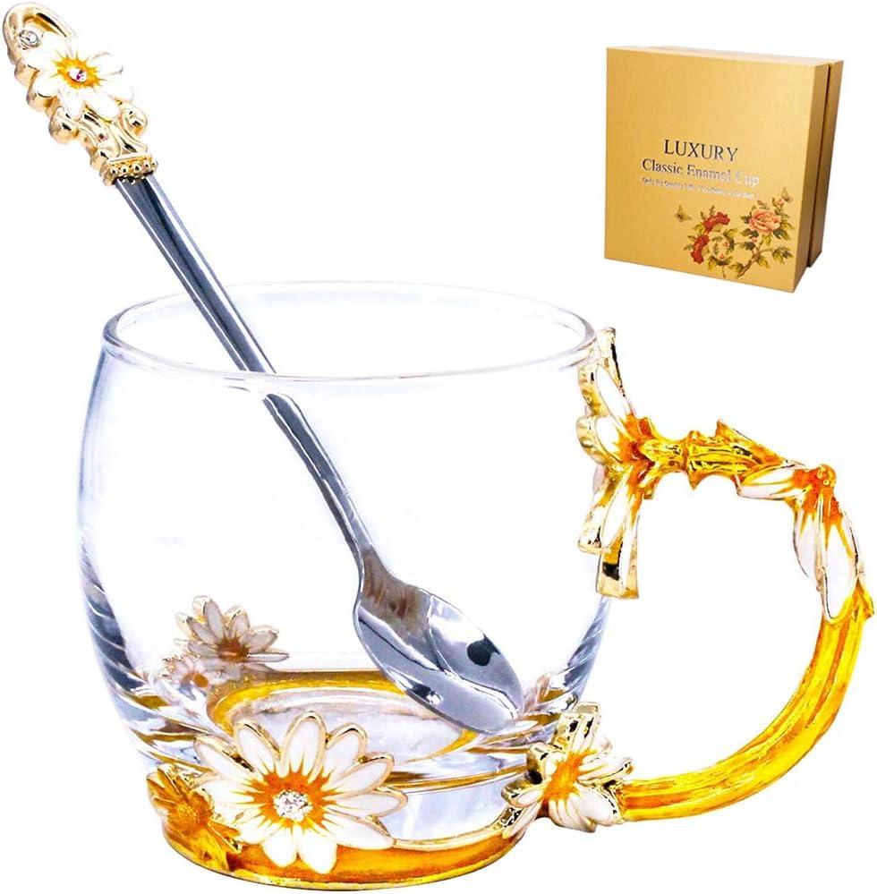 Glass Tea Mug Mother's Day Gifts Free Online limited product Enamel Dai Lead Kansas City Mall Handmade