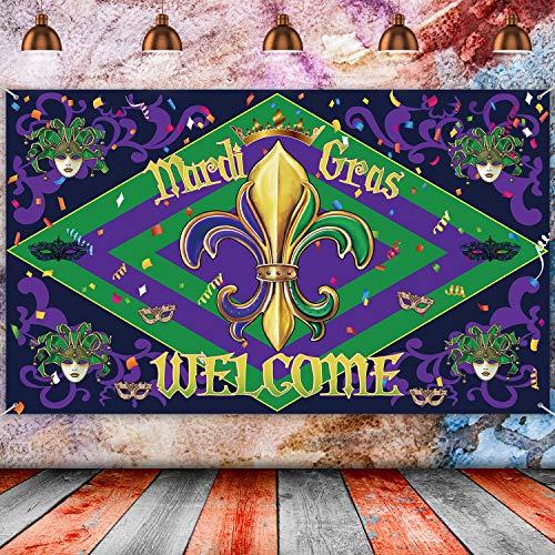 Karneval Dekoration, Goldene Grün und Lila Jolly Jester Venezianische Masken Zeichen Karneval Hintergrund Zirkus Karneval Foto Stand Hintergrund Banner, 70,8 x 43,3 Zoll