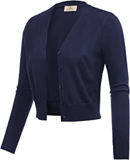 a645b57a65aad GRACE KARIN Women s Open Front Knit Cropped Bolero Shrug Cardigan Sweater  Long Sleeve (S-