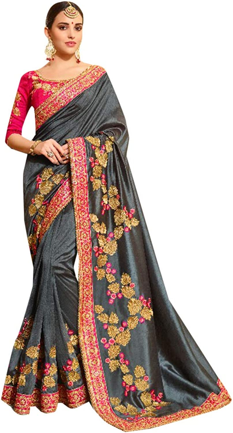 Grey Silk Party Wear Collection of Designer Saree with Stylish Heavy Border Contrast Blouse Sari Indian Ethnic Women 754