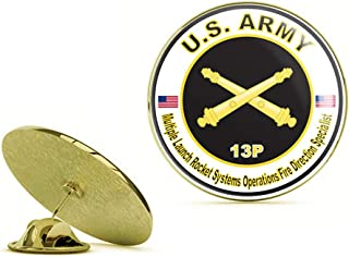 Gold U.S. Army MOS 13P Multiple Launch Rocket Systems Operations Fire Direction Specialist Gold Lapel Pin Tie Suit Shirt Pinback