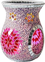 Fenteer Mosaic Glass Candle Holders Tea Light Candle Holder Fragrance Essential Oil Diffuser for Table,Wedding Decor - Purple