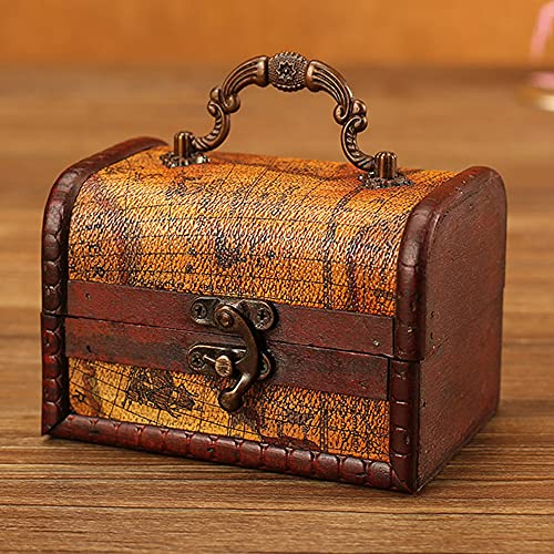 Joyero de madera retro con apariencia de carta náutica con diseño de equipaje, caja de regalo para niñas, mujeres y mujeres