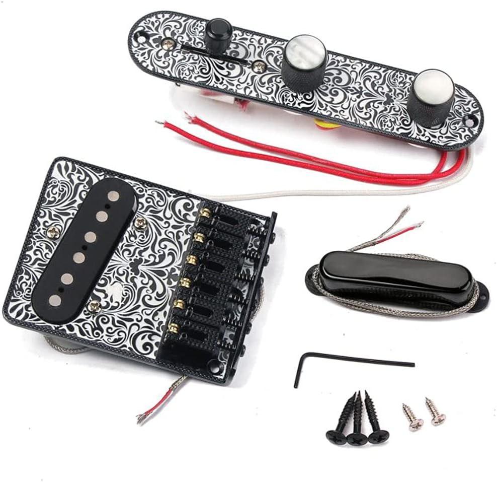 JIUYECAO Juego de línea de recogida de puente TL, tablero de puente de 6 cuerdas, placa de control de interruptor de 3 vías, juego de recogida de cuello para guitarras eléctricas Telecaster