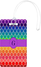 Rikki Knight G Monogram Initial On Rainbow Colors Scallop Luggage Tags, White