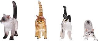 Hakka 4Pcs ミニ 猫の置物 モデル ミニキティ 置物 妖精の庭ドールハウスプラスチック製 デスクトップ 装飾品 マイクロランド