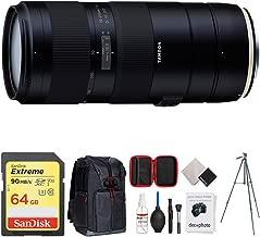 Tamron 70-210mm F/4 Di VC USD Telephoto Zoom Lens for Full-Frame Nikon DSLR (AFA034N-700) + 64GB Memory Card + Photo Camera Sling Backpack + Vanguard 60