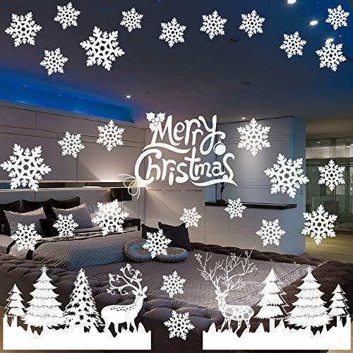 MEISHANG Weihnachten Fenstersticker,Weihnachten Selbstklebend Fensterdeko,Fensteraufkleber PVC,Fensterbilder Weihnachten,Weihnachten Fensterdeko,Weihnachten Deko Fenster,Weihnachten Selbstklebend