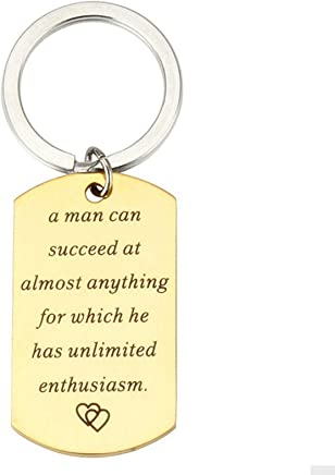 "AMdxd Stainless Steel Keychain Women Men Engraved""a Man can Succeed at Almost Anything"" Silver Key Chain Tags"