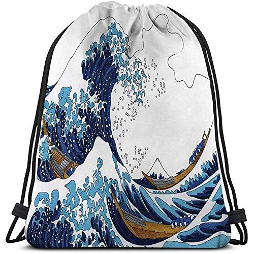 Roman Lin String Gym Rucksack Mann Frauen Kordelzug leichte Hokusai große Welle Kanagawa Erwachsene ausmalbilder Hokusai große Welle Kanagawa Erwachsene ausmalbilder