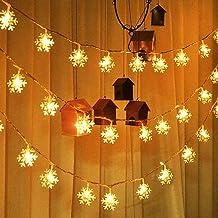 Kerstmis LED foto clip sneeuwvlok licht LED lichtketting 32,8 ft 80 LED lichtketting batterij waterdicht voor Kerstmis tui...