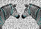 wandmotiv24 Fototapete Schwarz Türkise Zebras XS 150 x 105cm - 3 Teile Fototapeten, Wandbild, Motivtapeten, Vlies-Tapeten Abstrakt, schrift, Tiere M1856