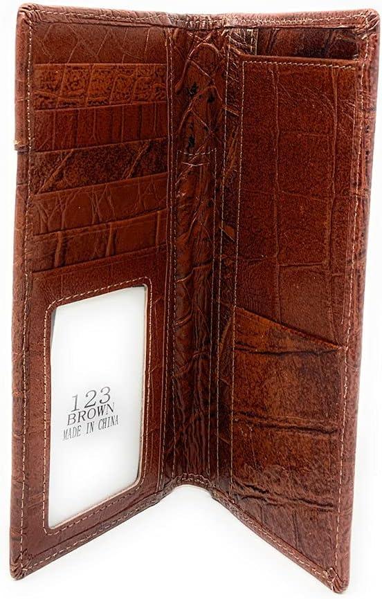 Western Tooled Genuine Leather Cowhide Cow fur Star Men's Long Bifold Wallet in 3 colors (Brown)