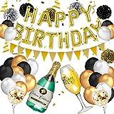 pushingbest Decorazioni di Compleanno, Bottiglia di Champagne, Buon Compleanno Palloncini ...