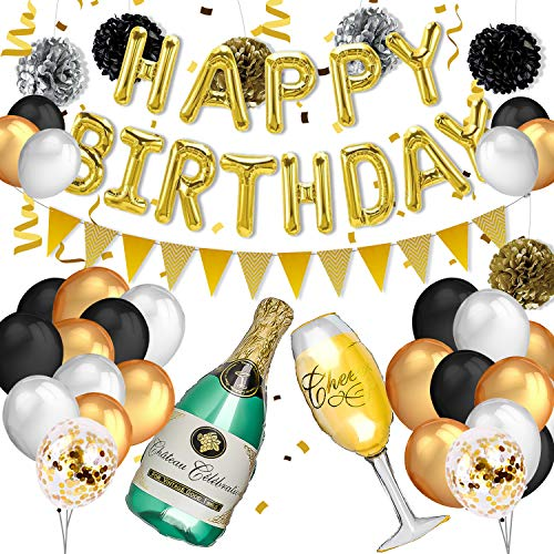 PushingBest Geburtstagsdeko, Champagner Flasche Geburtstag Party Deko Set, Happy Birthday Ballons Gold Dreieckige Wimpel Konfetti Luftballons und Pompons für Dekorationen, Weihnachten, Hochzeitsfeier