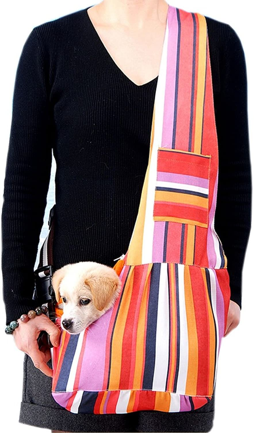 [Stripe] Portable Oxford Fabric Pet Carrier Shoulder Bag for Dogs and Cats