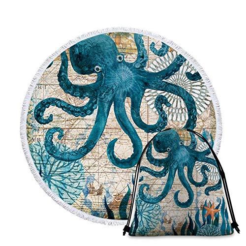 B-UK Toalla de Playa Toallas de Playa Redondas Impresas Microfibra Made Life Style Playa Toalla de Playa (Color : RBT001 3 Towel)