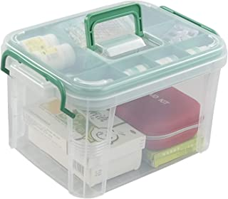 Bringer Plastic First Aid Box, 2 Layers with Compartments, Family Medicine Storage Organizer, 1 Pack, Clear