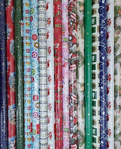 10 er XXL Pack Weihnachtsgeschenkpapier Weihnachts Geschenkpapier Weihnachtsgeschenk Papier 200 x 70 cm Rolle