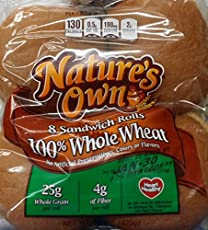 Nature's Own 100% Whole Wheat Sandwich Rolls 8 Count (Pack of 2)