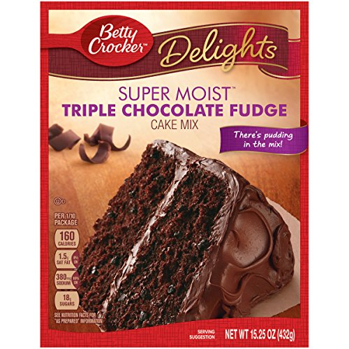 Betty Crocker Baking Mix, Super Moist Cake Mix, Triple Chocolate Fudge, 15.25 Oz Box
