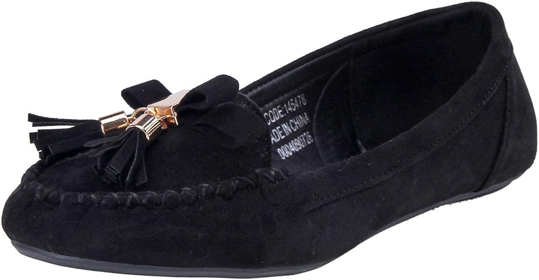 Damara Womens Tassels Vintage Bowknot Stitch Flat shoes