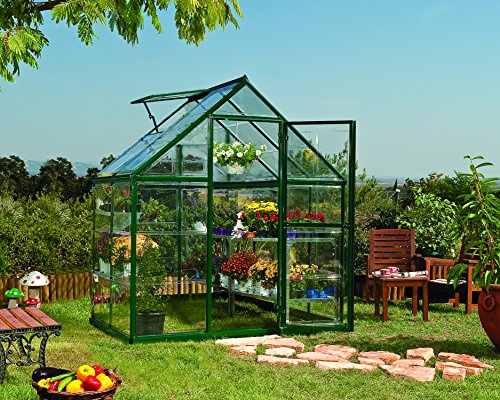 Palram Harmony 6x4 Green Greenhouse - Clear Polycarbonate, Aluminum Frame, Base Included