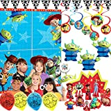 Toy Story 4 Birthday Party Supplies and Decorations Pack With Toy Story Scene Setter, Photo Props, Balloons, Swirls, Honey Comb Deco, Cowboy Cow Print Pennant, Table Decorating Kit, and Exclusive Pin
